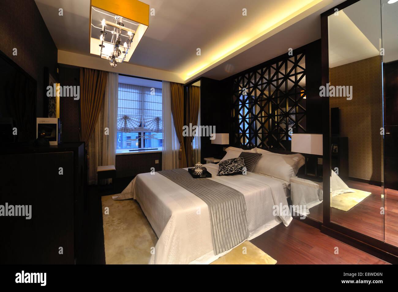 Schlafzimmer Innenraum Stockbild