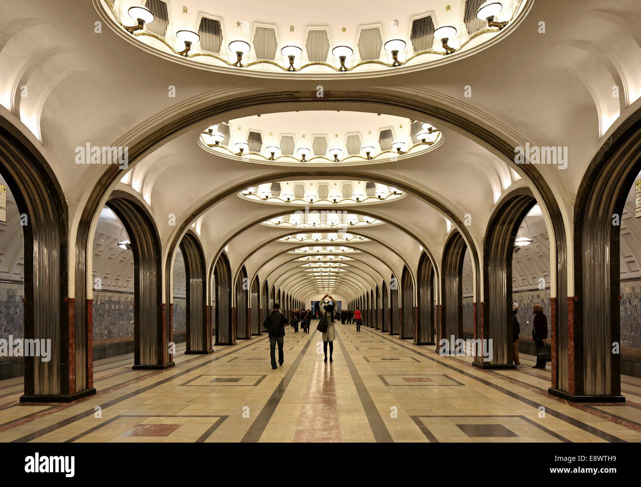 Decke Detail in Moskauer Metro, Moskau, Russland. Stockbild