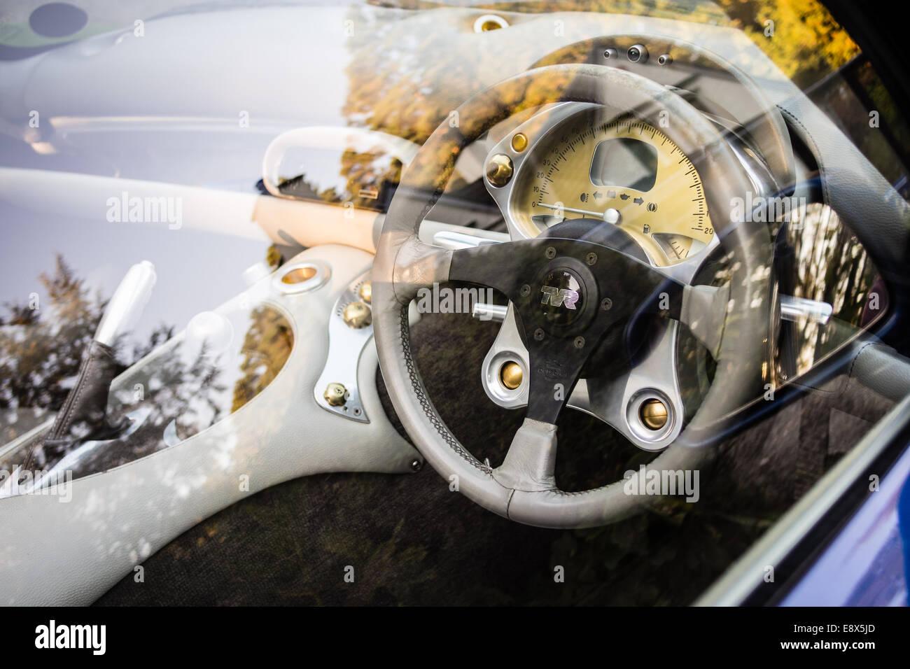 Leder-Interieur der britischen Sportwagen neben herbstlichen Wald. Stockbild