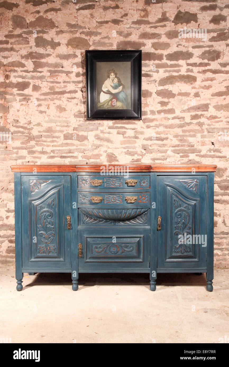 Shabby Chic Jugendstil Sideboard Blau Stockfoto Bild 74357579 Alamy