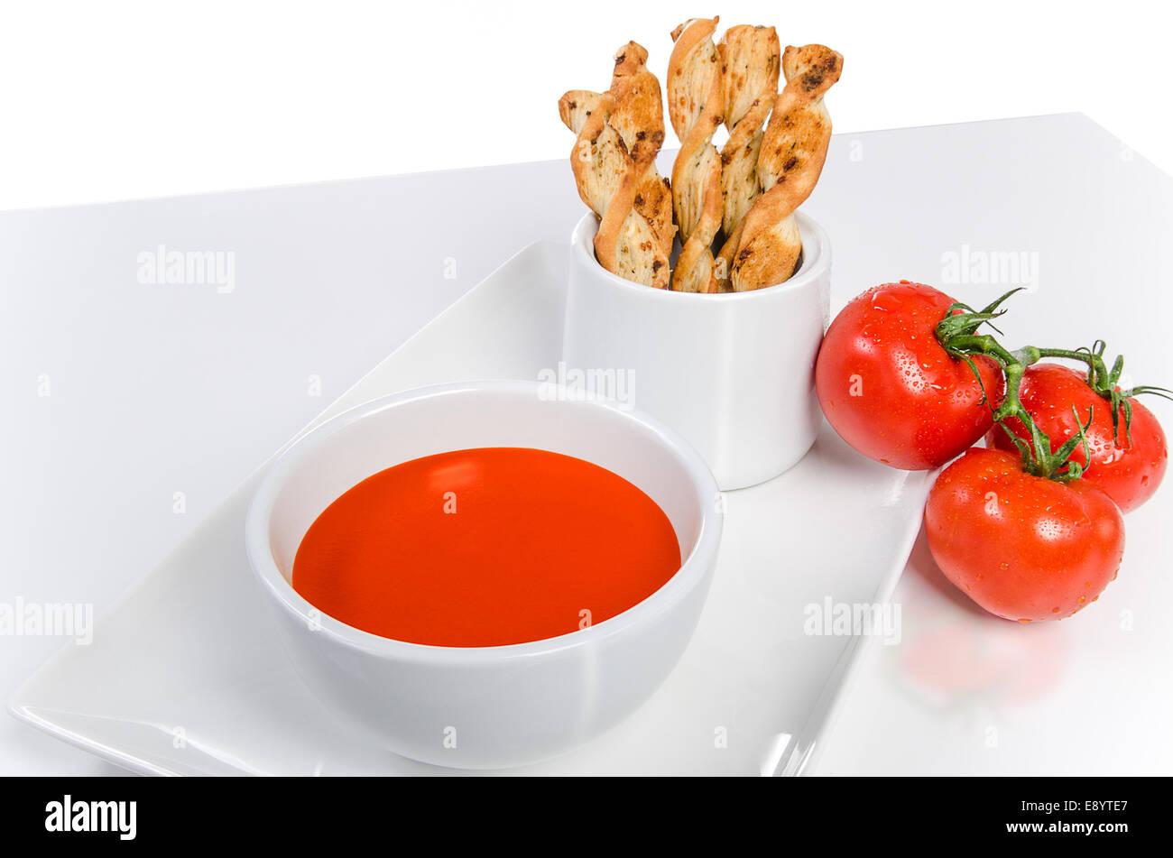 bread sticks tomato soup stockfotos bread sticks tomato. Black Bedroom Furniture Sets. Home Design Ideas
