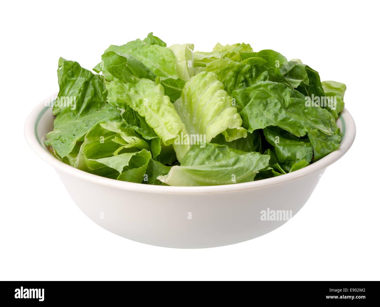 Romaine Salatschüssel isoliert auf einem weißen Hintergrund. Stockfoto