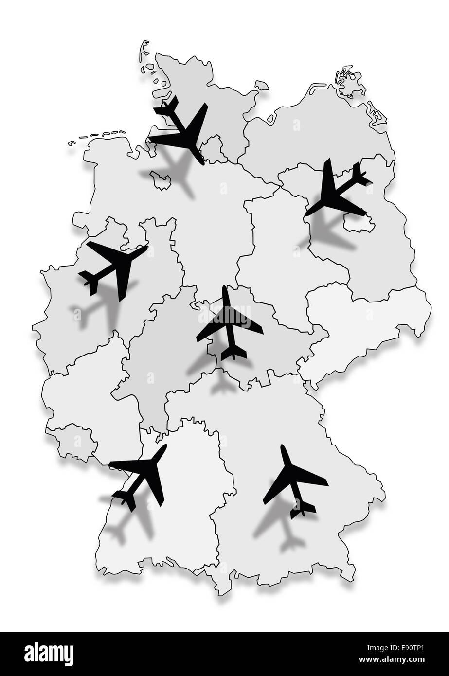 Karte von Deutschland mit Flugzeugen Stockbild