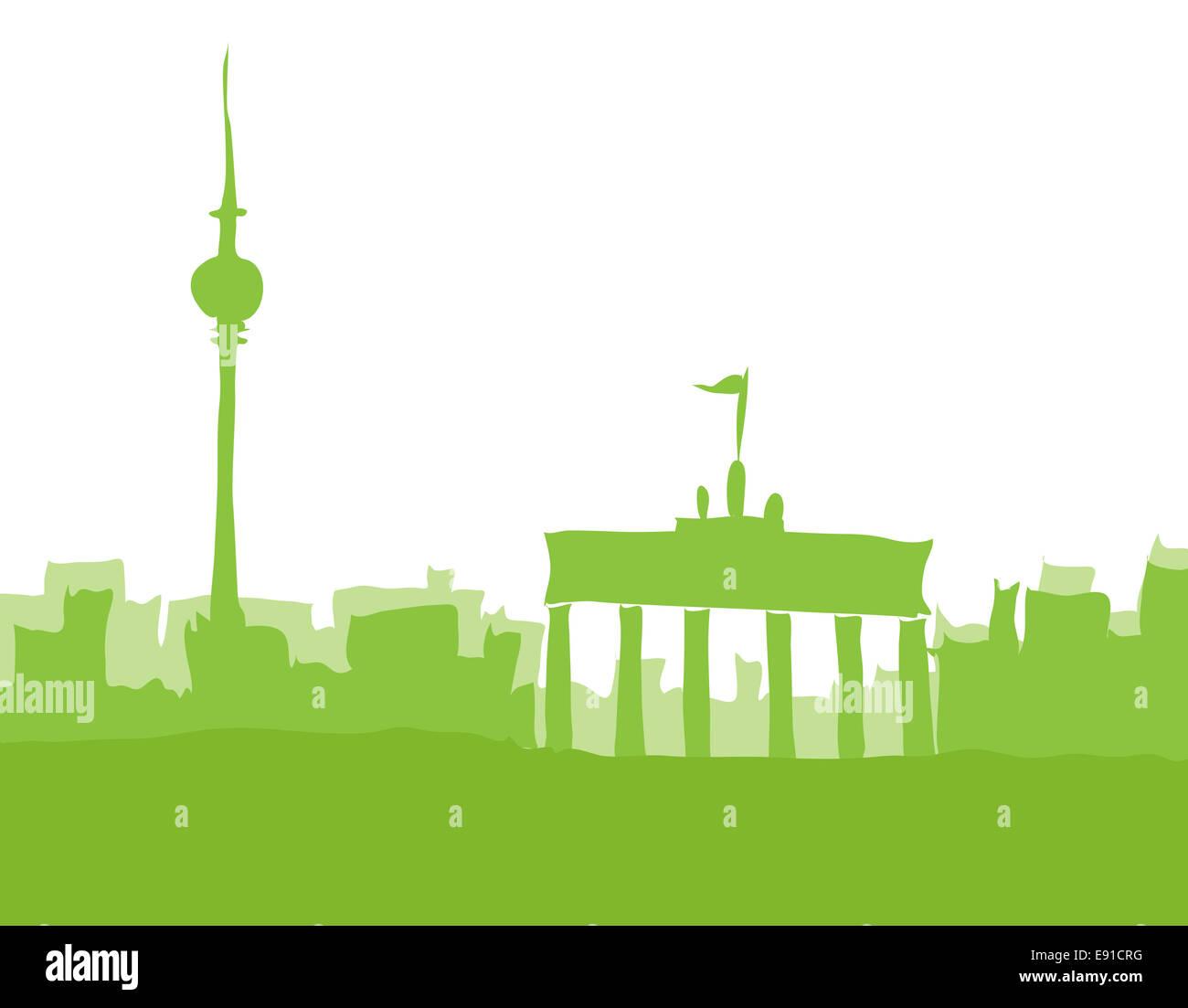 Berlin, Abstrakt Skyline grün Stockbild