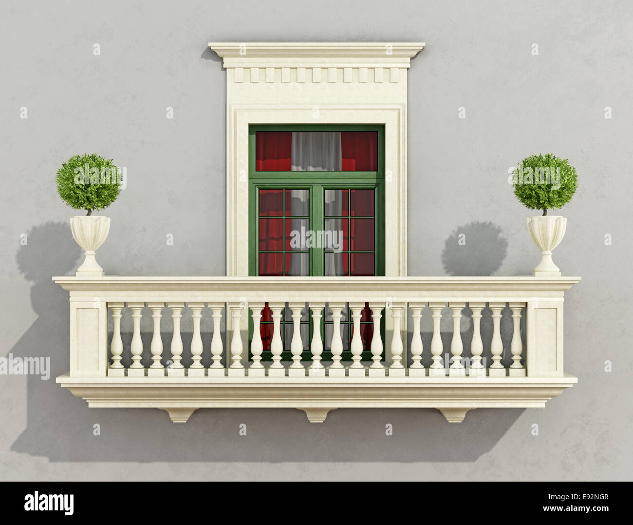 graue klassische fassade mit steinernen balkon und fenster 3d rendering stockfoto bild. Black Bedroom Furniture Sets. Home Design Ideas