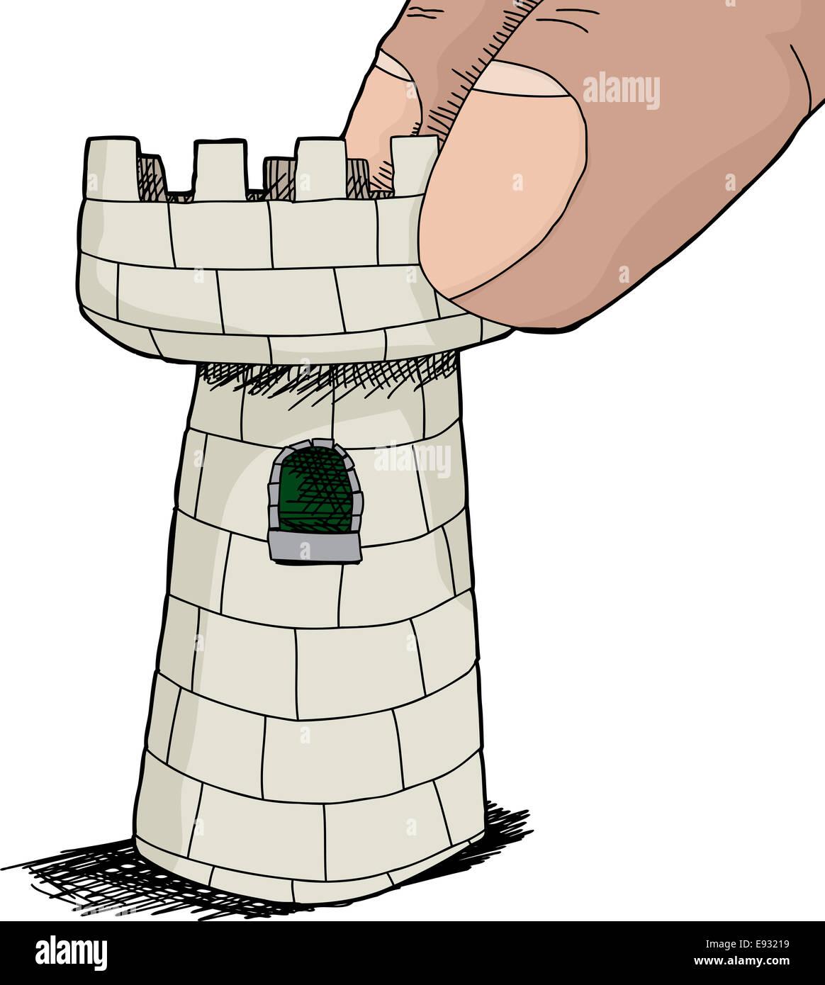 Hand drawn cartoon castle tower stockfotos hand drawn cartoon castle tower bilder alamy - Nasse fenster uber nacht ...