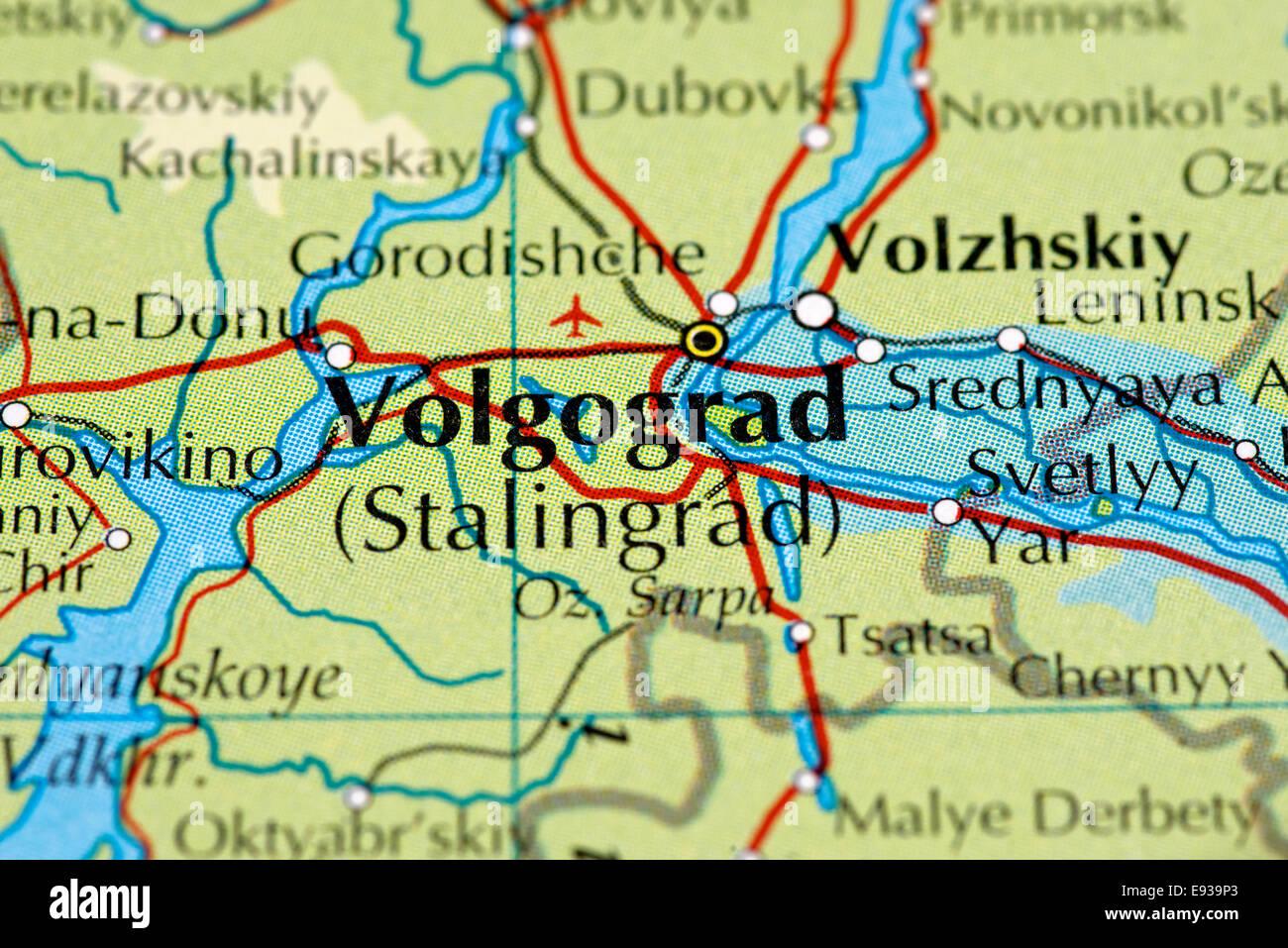 Karte schließen sich von Wolgograd / Stalingrad, Russland Stockfoto ...