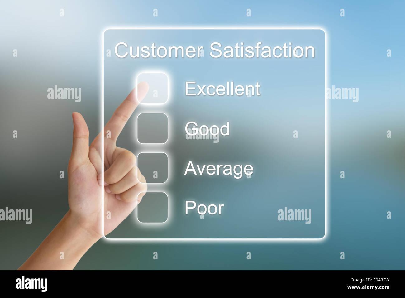 Hand klicken Kundenzufriedenheit auf virtuellen Bildschirm-Schnittstelle Stockbild