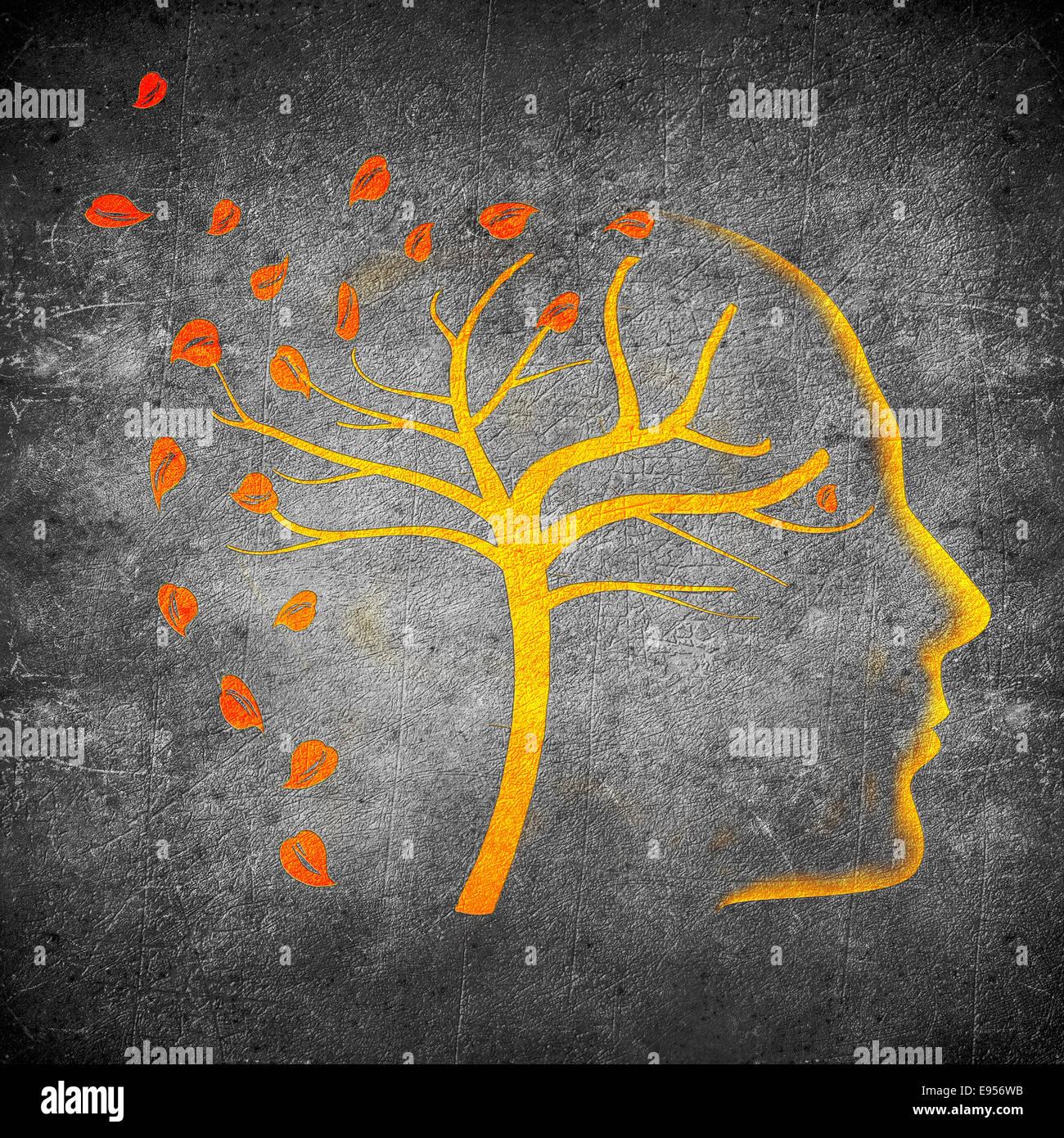 Zeiten gehen von Concept digitale Illustration orange auf Schwarz Stockbild
