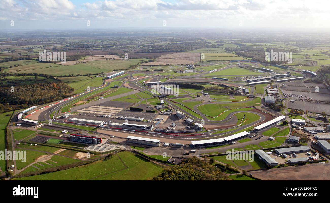 Luftaufnahme von Silverstone Rennstrecke in Northamptonshire, Großbritannien Stockbild