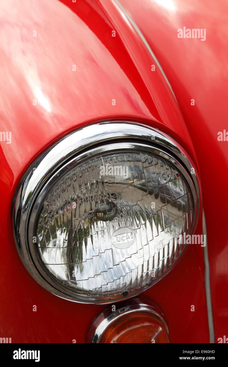 Oldtimer MG MGA Scheinwerfer Stockbild