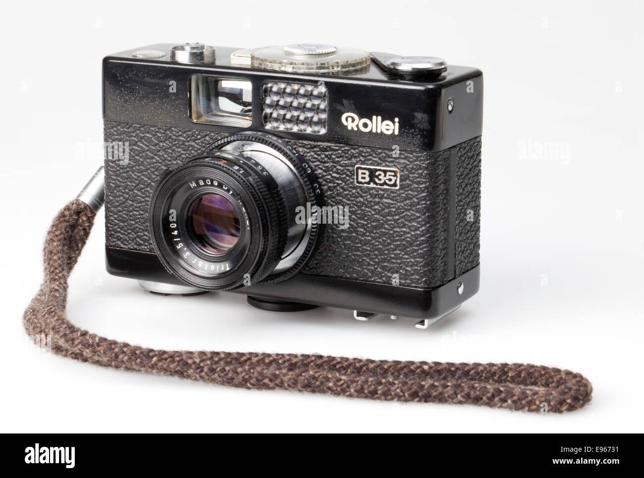 Analoge 35mm Filmkamera, Rollei B 35, Stockbild