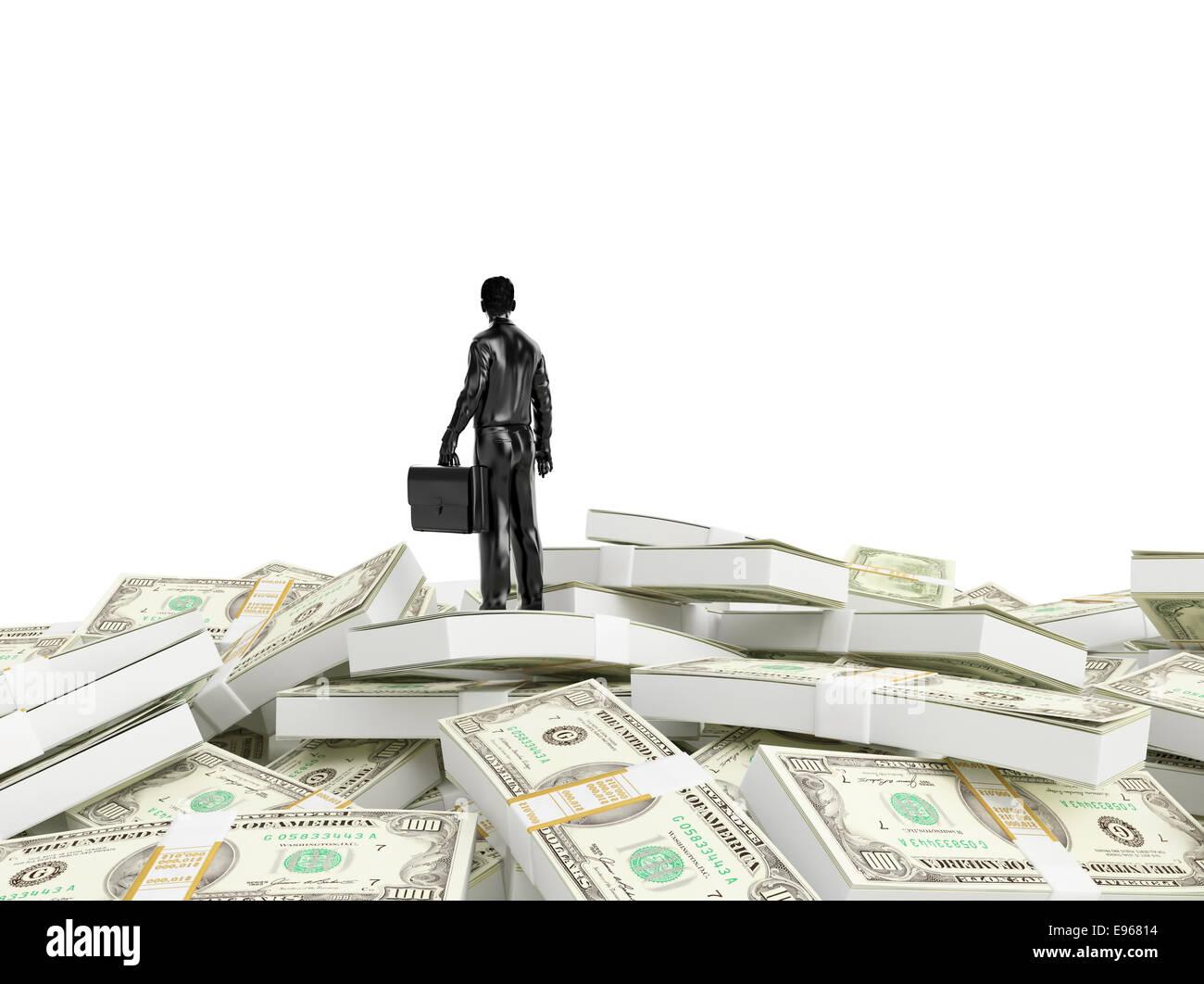 Kleine Person, die auf einen riesigen Haufen Geld Stockbild