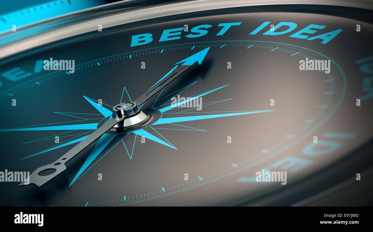 Kompass mit Nadel deuten die Worte beste Idee, Konzept-Bild zur Veranschaulichung von Vision und Strategie. Stockbild