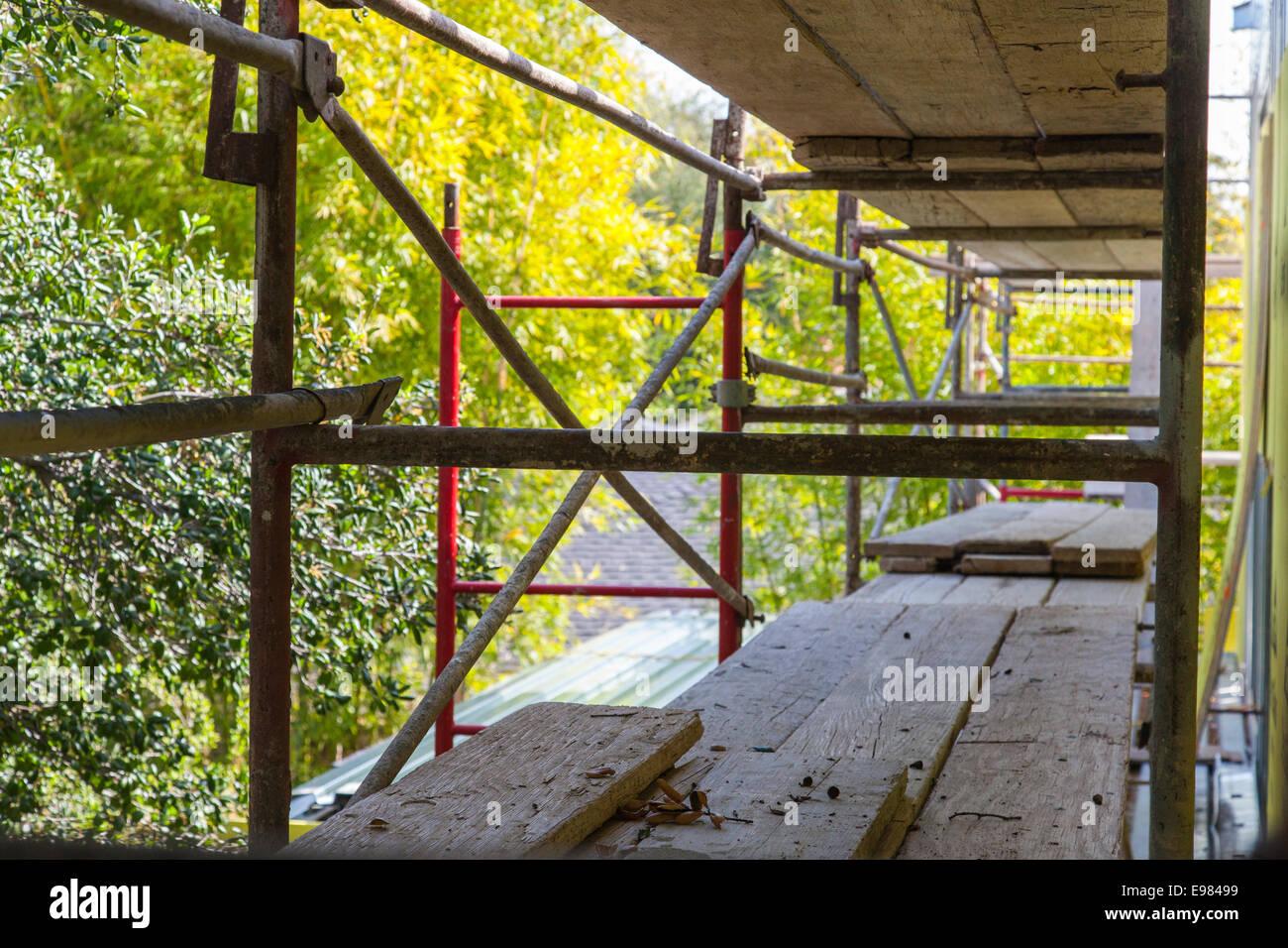 Gerüst auf Baustelle der neuen Heimat, Los Angeles, Kalifornien, USA Stockbild