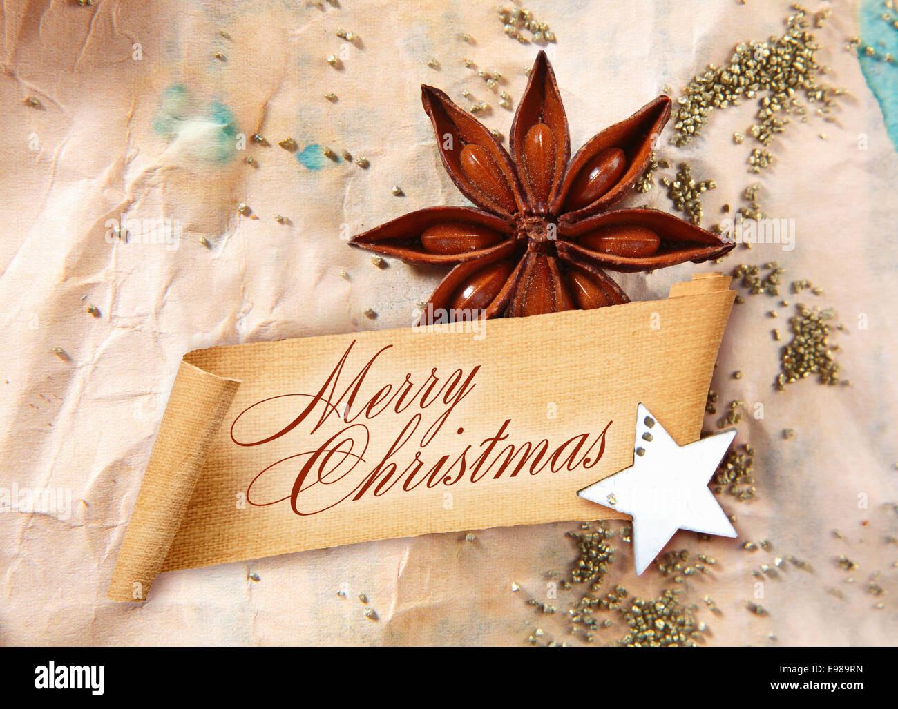 Frohe Weihnachten Gruß auf gewelltes Banner mit Sternanis Gewürz und ...