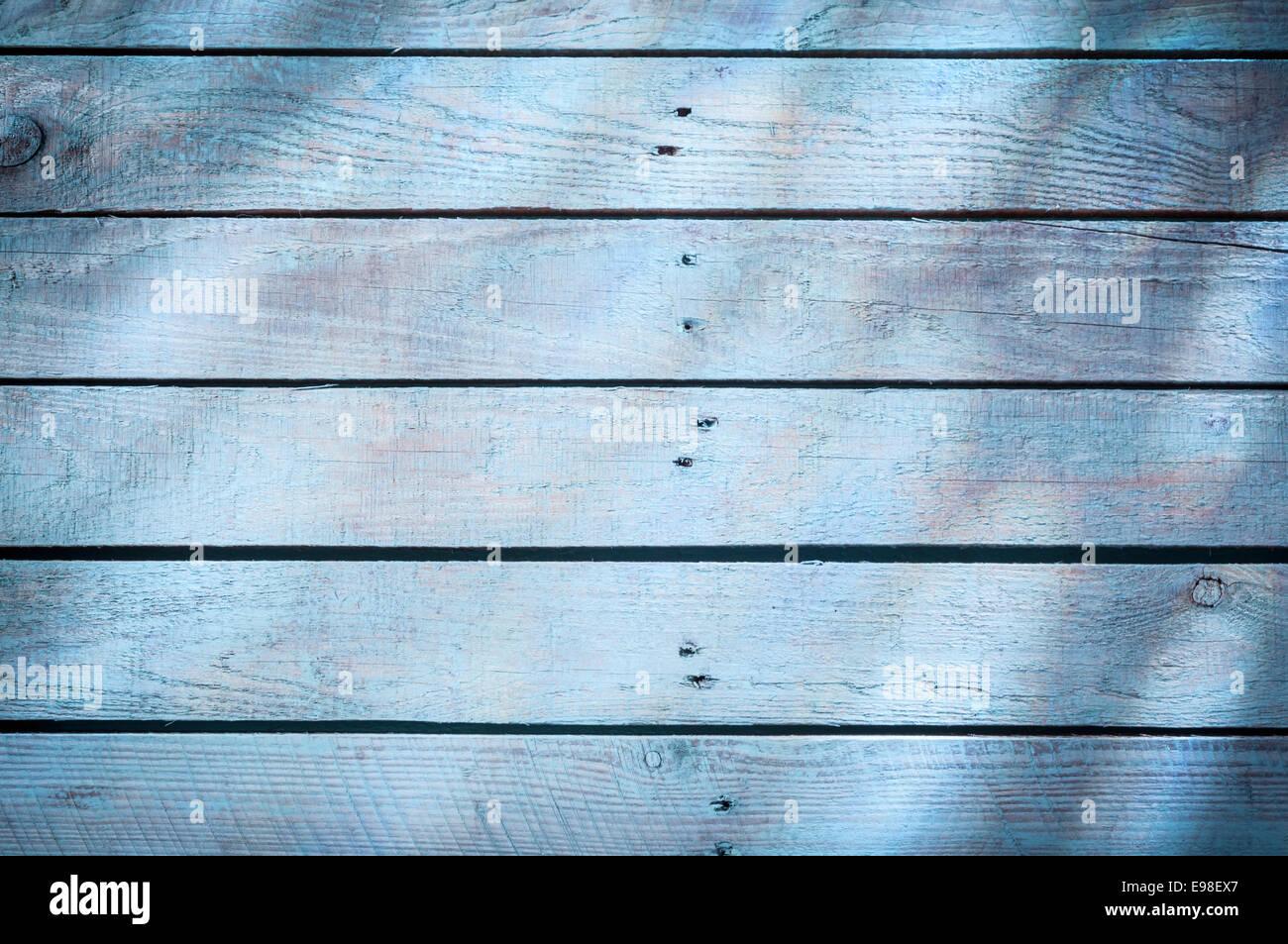 Hintergrund-Textur des verblichenen blauen Holzbretter mit einem ...