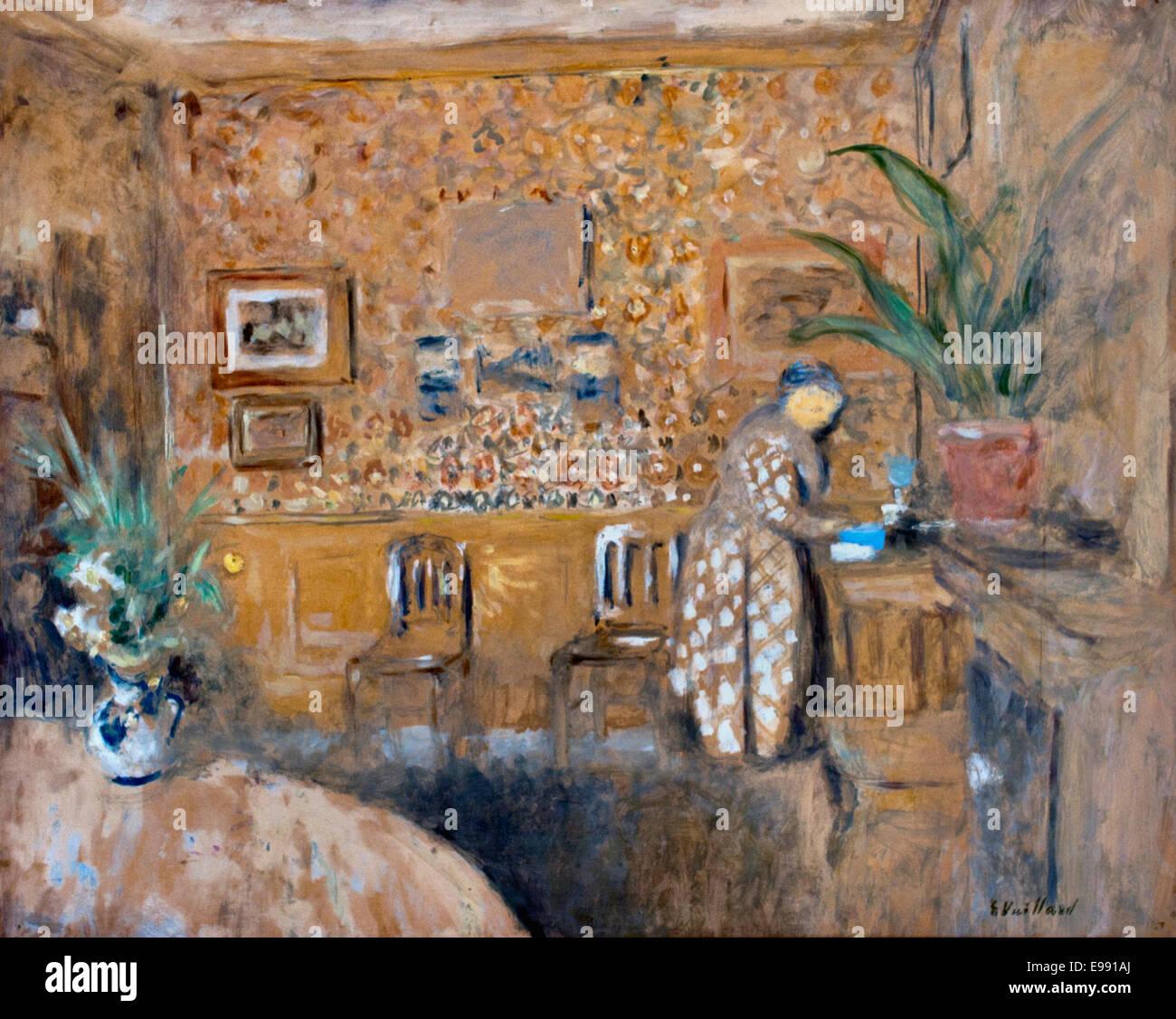 Intérieur Aux Deux Chaises - Innenraum auf beiden Stühlen 1901 Edouard Vuillard 1868-1940 Frankreich Französisch Stockbild