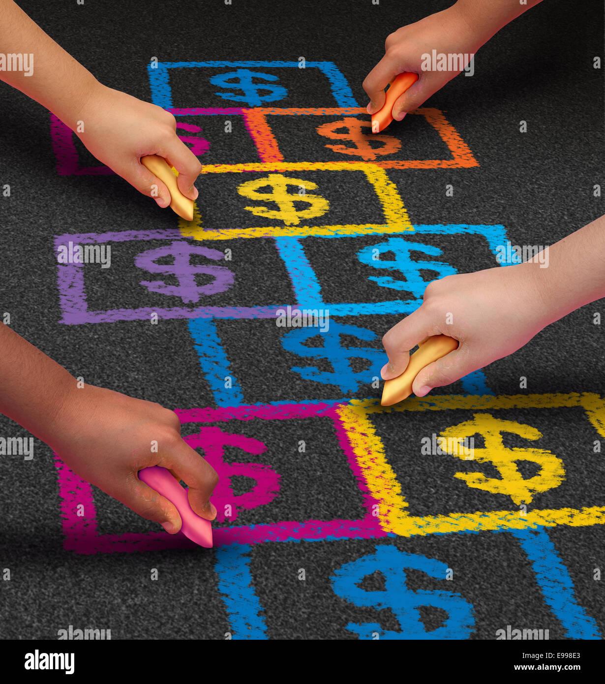 Schule Finanzierung und Ausbildung-Business-Konzept als eine Gruppe von Kindern eine Himmel und Hölle Spiel Stockbild