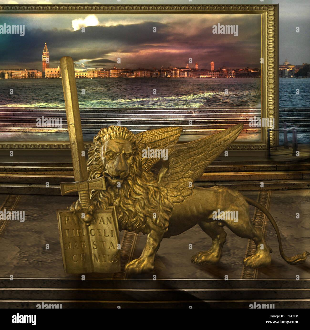 Der goldene Löwe im alternative Erde Stockbild