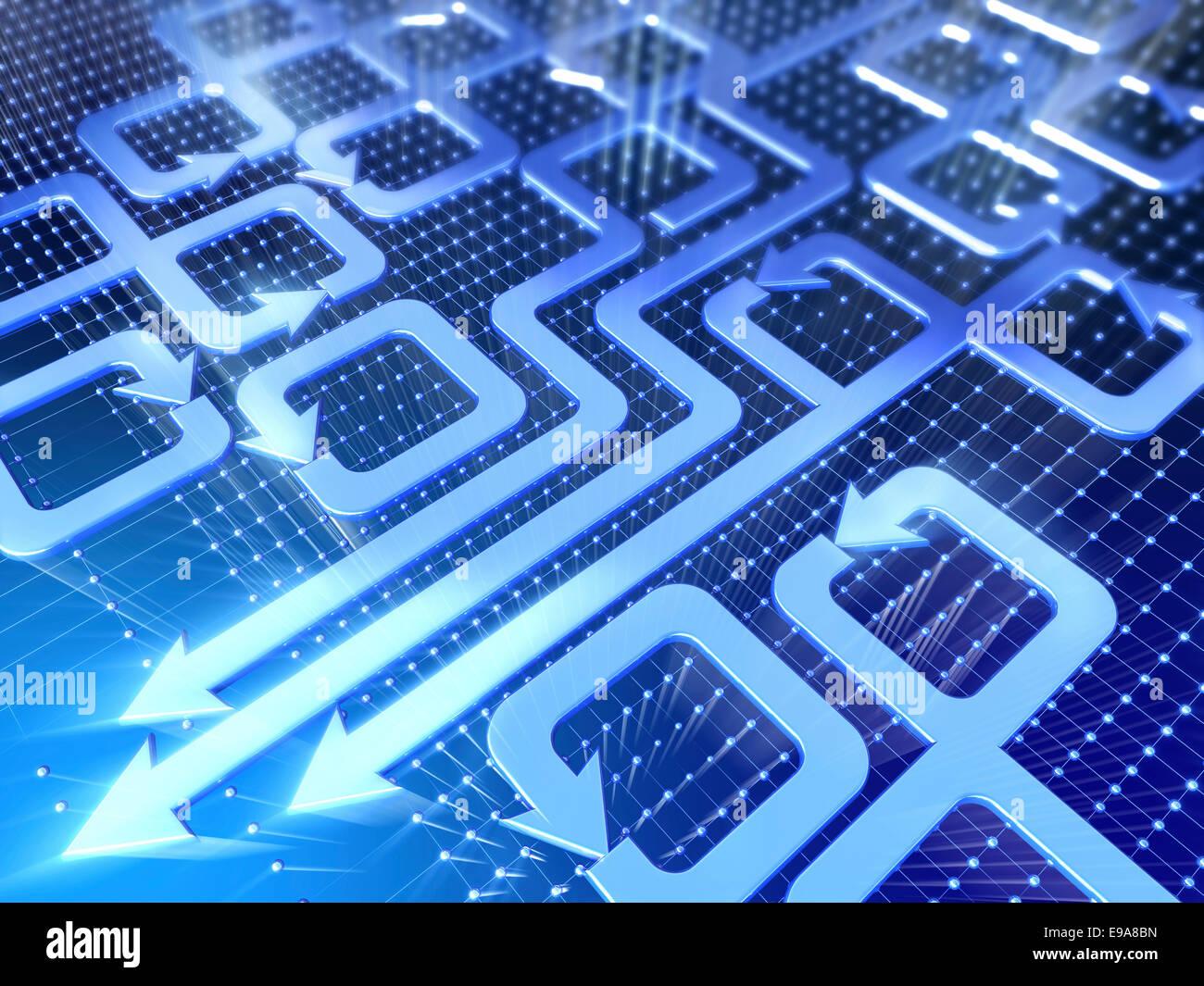 Abstrakte Technologie 3d Illustration. Verschiedene Pfeile auf blauem Hintergrund. Stockbild