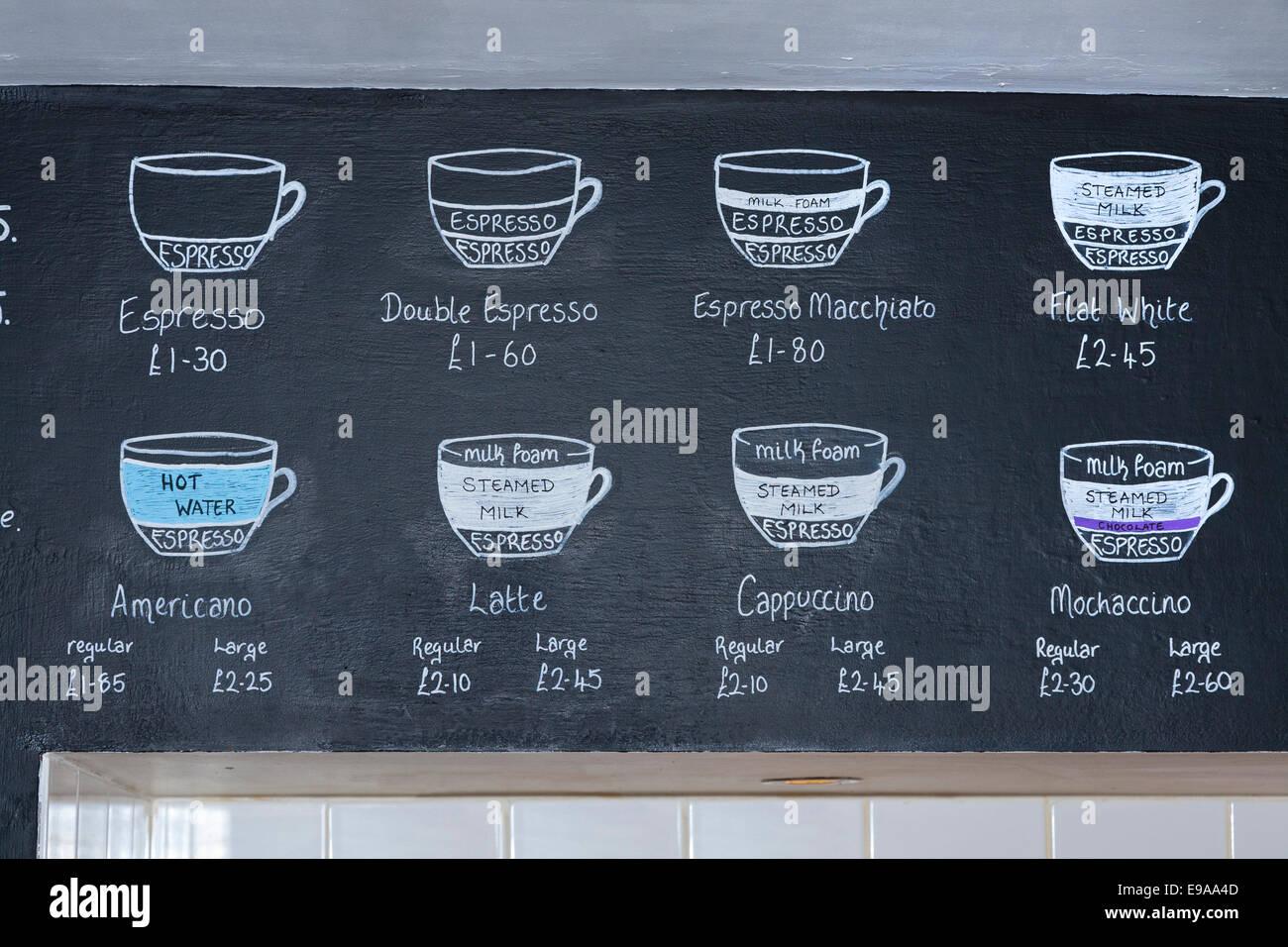 Menü und Preis-Liste für Kaffeegetränke auf einer Tafel in einem ...
