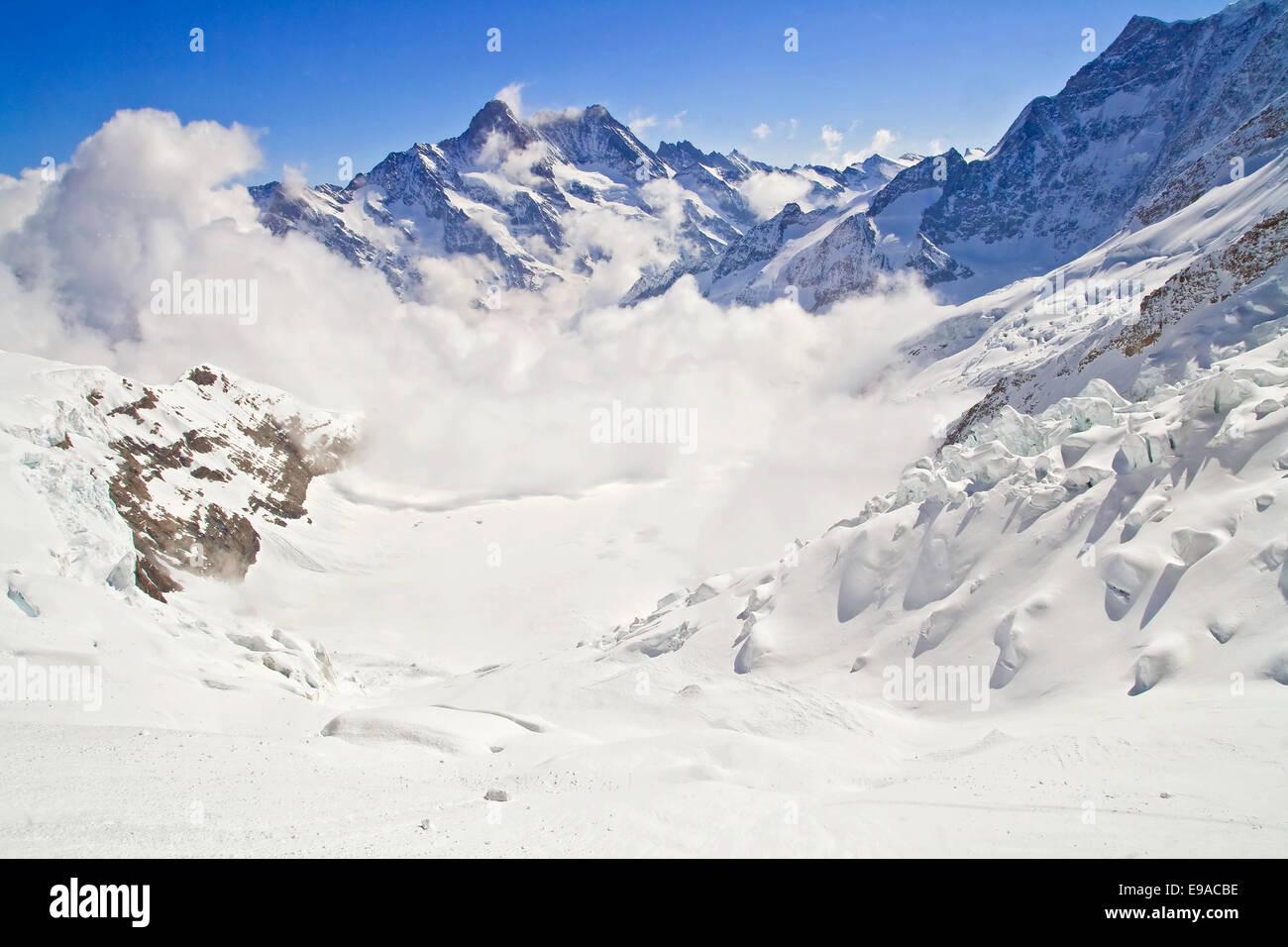Nebel am Jungfraujoch Stockbild