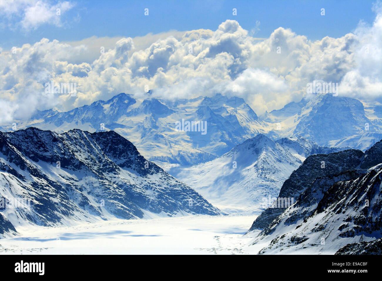 Aletschgletscher Alpen der Schweiz Stockbild