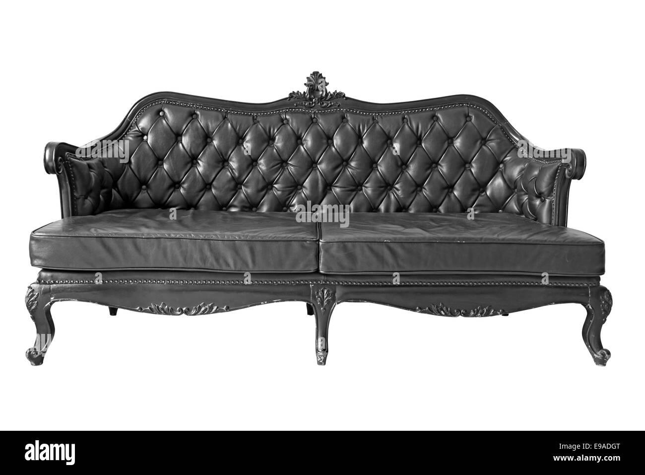 schwarzes ledersofa stockfoto bild 74603560 alamy. Black Bedroom Furniture Sets. Home Design Ideas