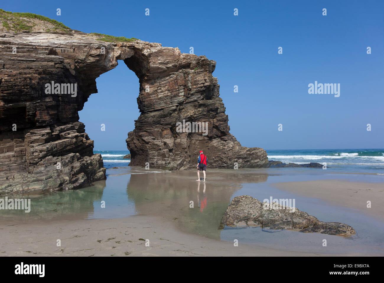 Strand der Kathedralen, Ribadeo, Lugo, Galicien, Spanien Stockbild