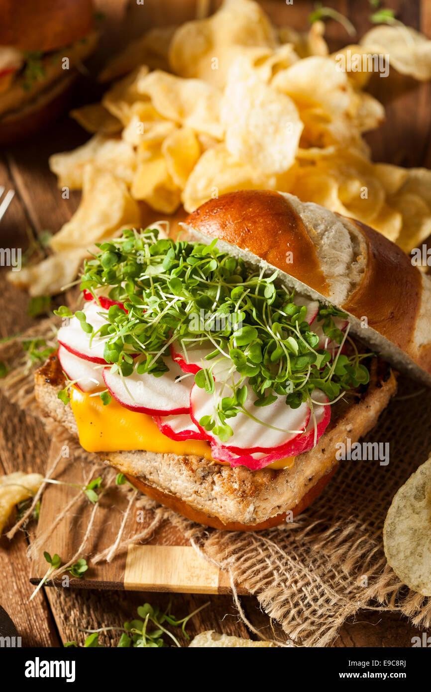 Hausgemachte vegetarische Soja Tofu-Burger mit Pommes frites Stockbild