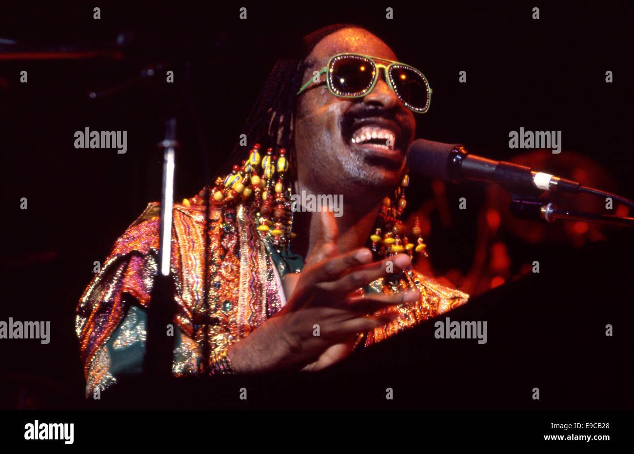 Stevie Wonder in Konzert ca. 1980er Jahre Stockbild