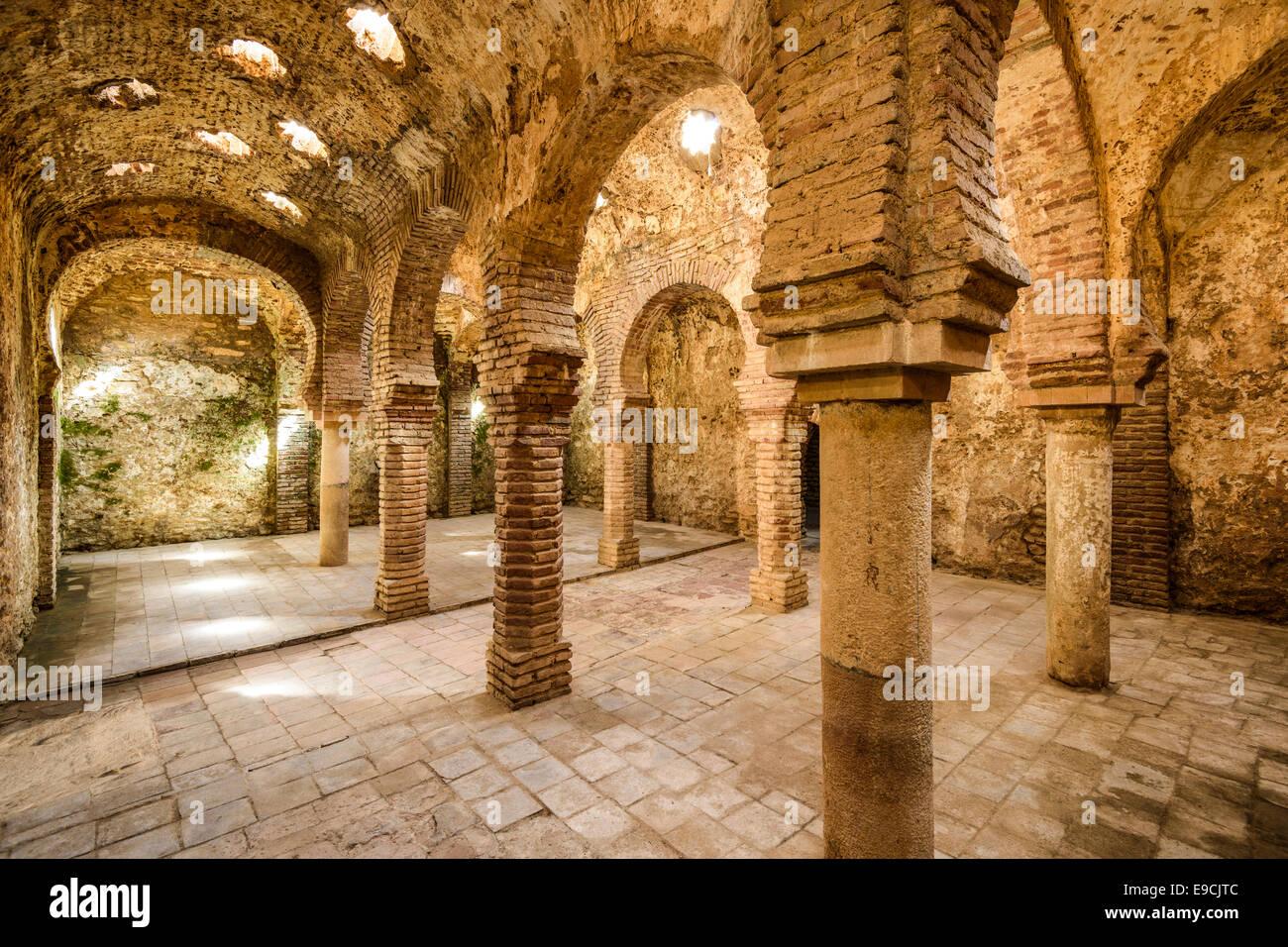 Ronda, Spanien an die arabischen Bäder aus dem 11.-12. Jahrhundert. Stockbild