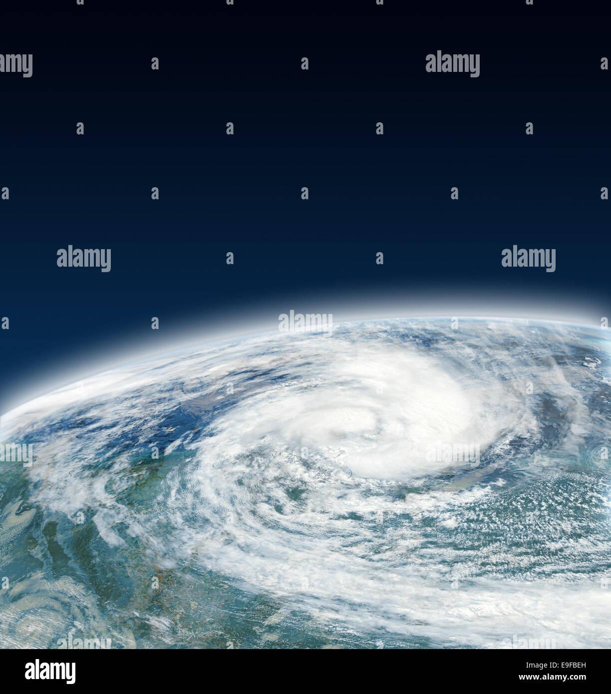 Hurrikan-Blick aus dem Weltall Stockbild