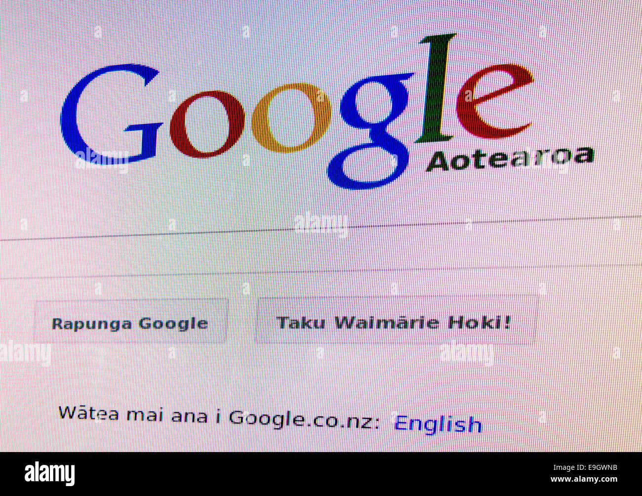 Google in Maori Sprache: Google Aotearoa. Google in Your Language Initiative. Logo, Suchfeld auf Bildschirm New Stockbild