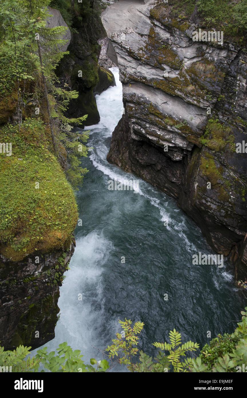 Gudbrandsjuvet, ein besonders schnell fließenden und wilden Teil des Fluss Valldøla, Norddal, Norwegen. Stockbild