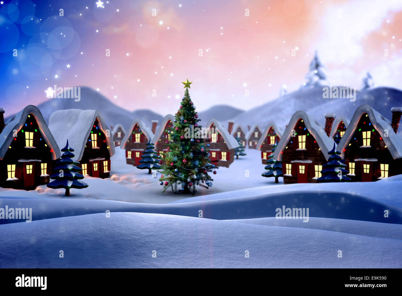 christmas village stockfotos christmas village bilder. Black Bedroom Furniture Sets. Home Design Ideas