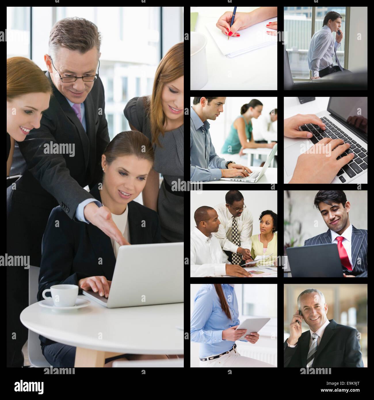 Computerabbilderstellung von Geschäftsleuten, die im Büro arbeiten Stockbild