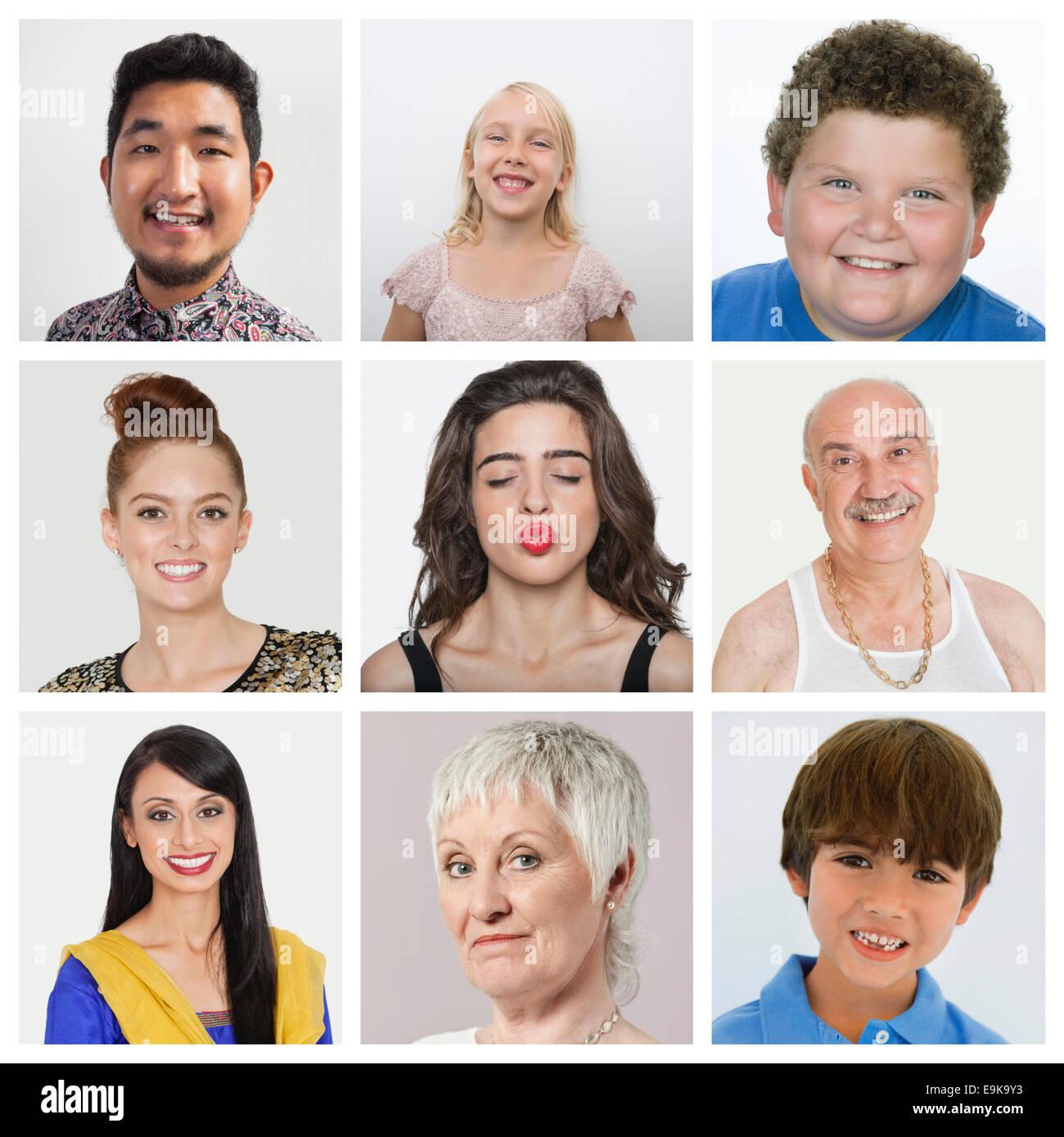 Collage aus multiethnischen Menschen Stockbild