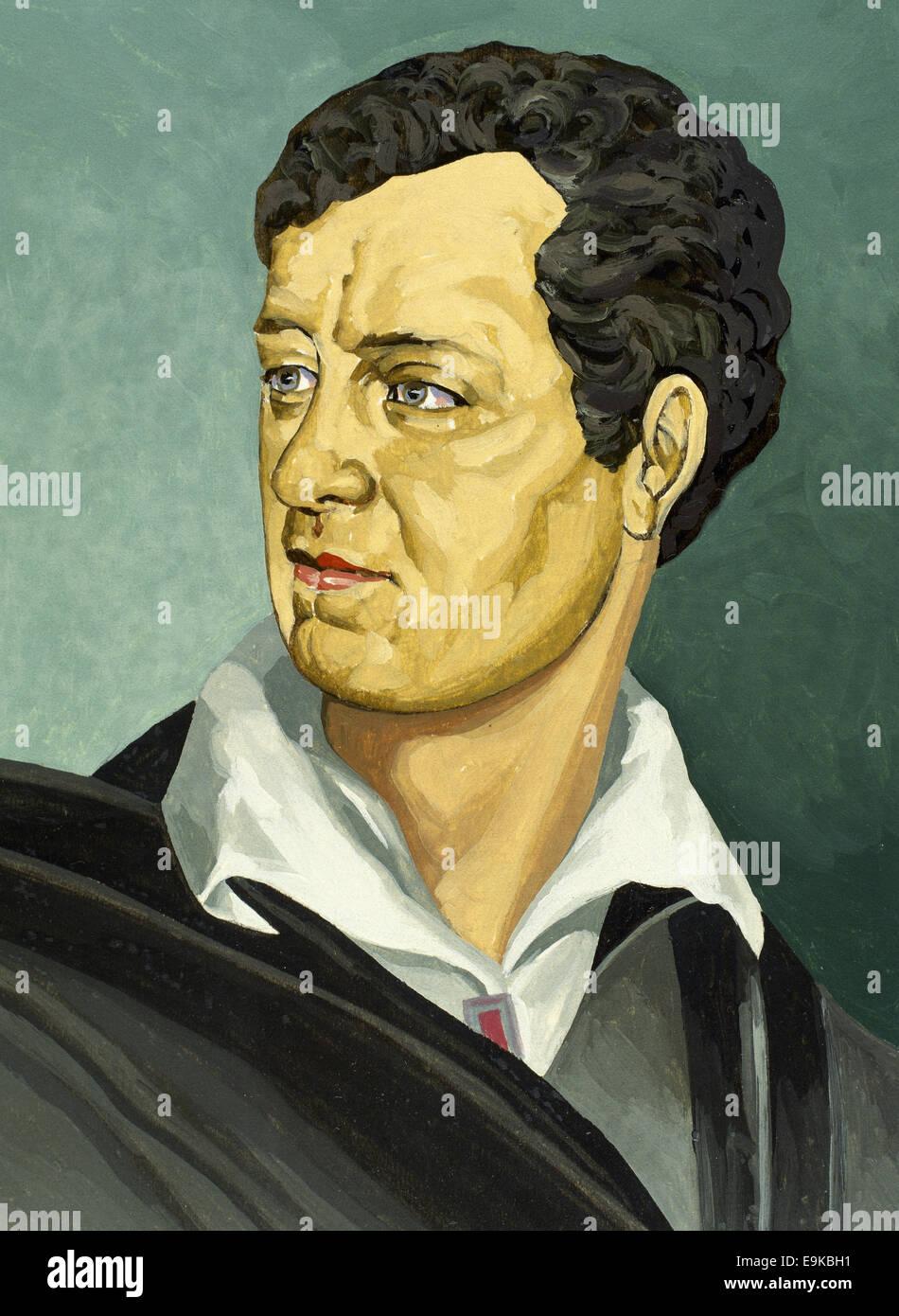 Lord Byron (1788-1824). Englischer Dichter. Romantischen Bewegung. Porträt. Aquarell. Stockbild