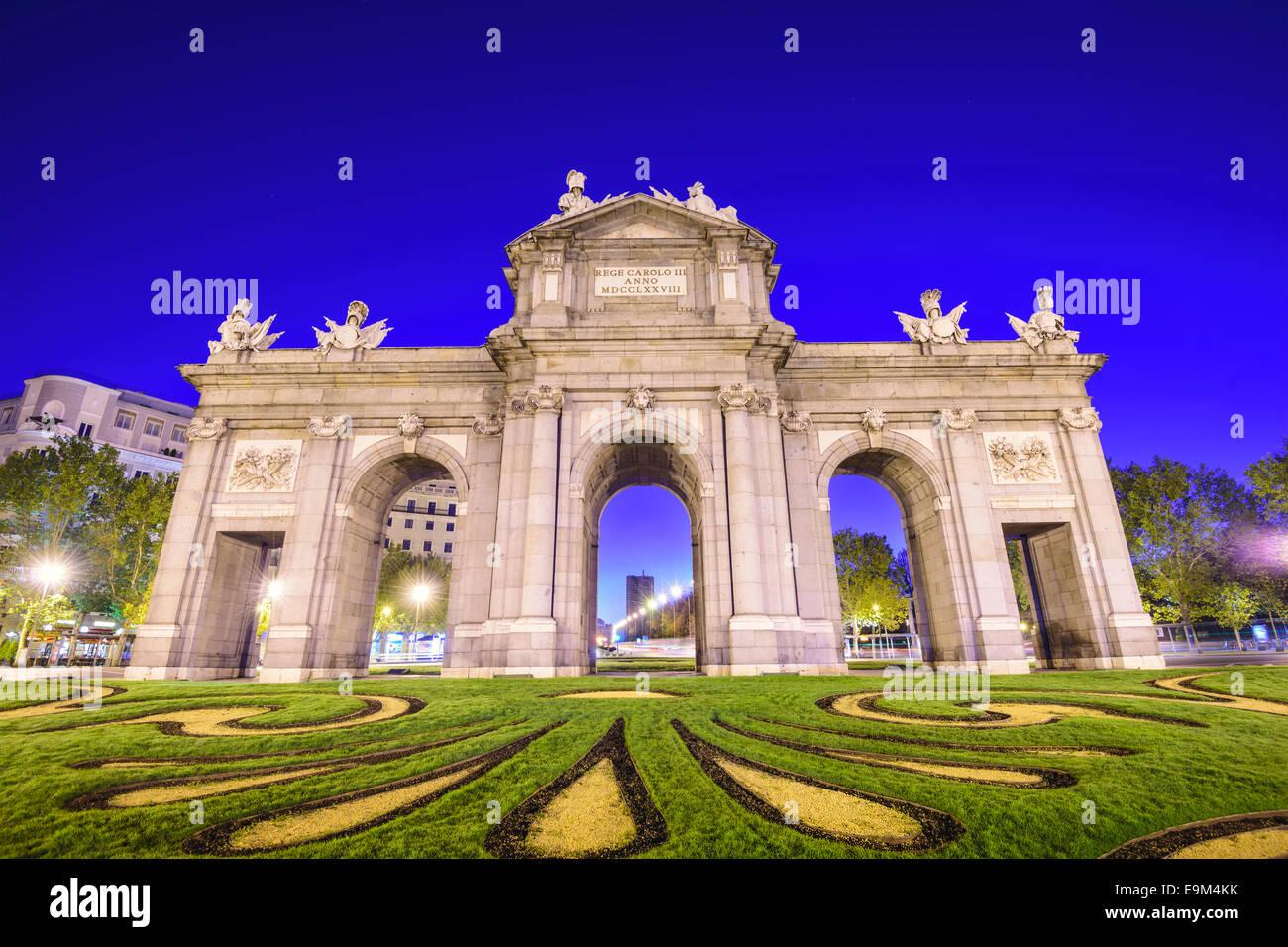 Puerta De Alcalá-Tor in Madrid, Spanien. Stockbild