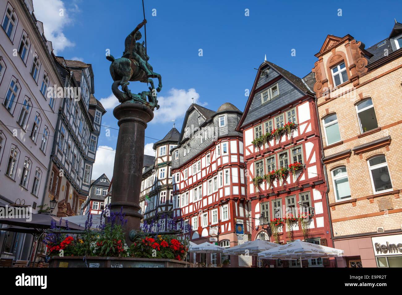 markt platz historischen zentrum marburg hessen deutschland europa stockfoto bild. Black Bedroom Furniture Sets. Home Design Ideas