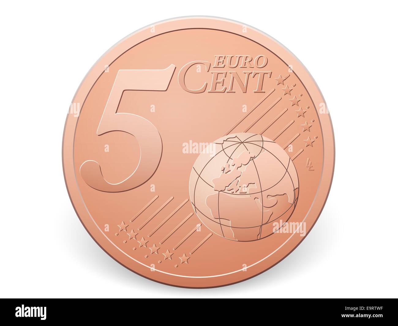 5 Euro Cent Münze Auf Einem Weißen Hintergrund Stockfoto Bild