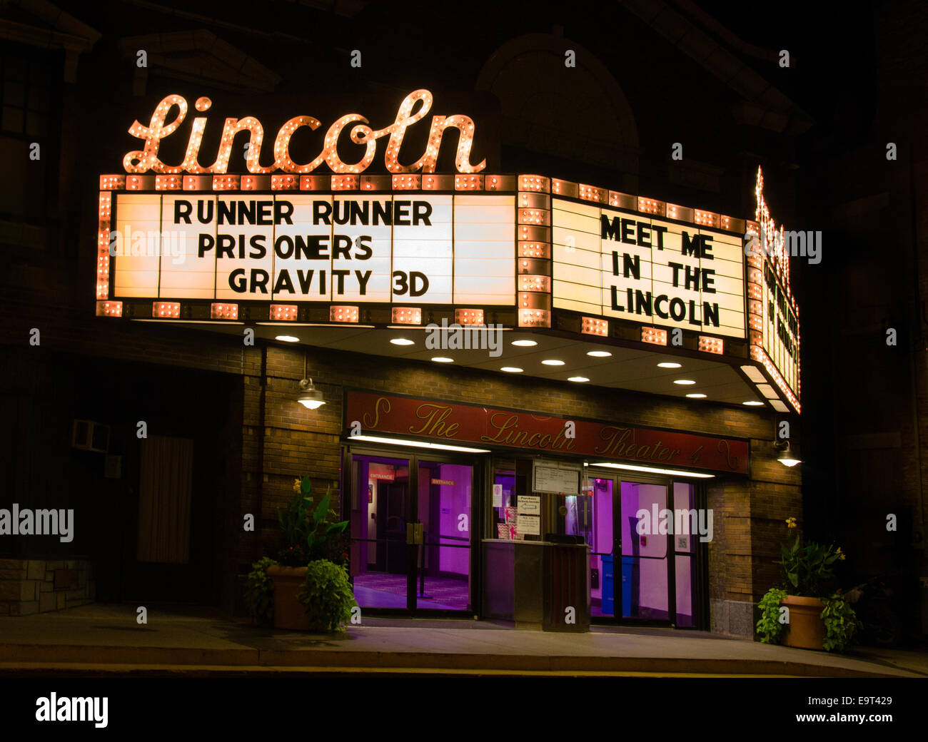 Das Lincoln Theater eröffnet im Februar 1923 und ist ein Lieblings Kino auf der Route 66 in Lincoln, Illinois Stockbild
