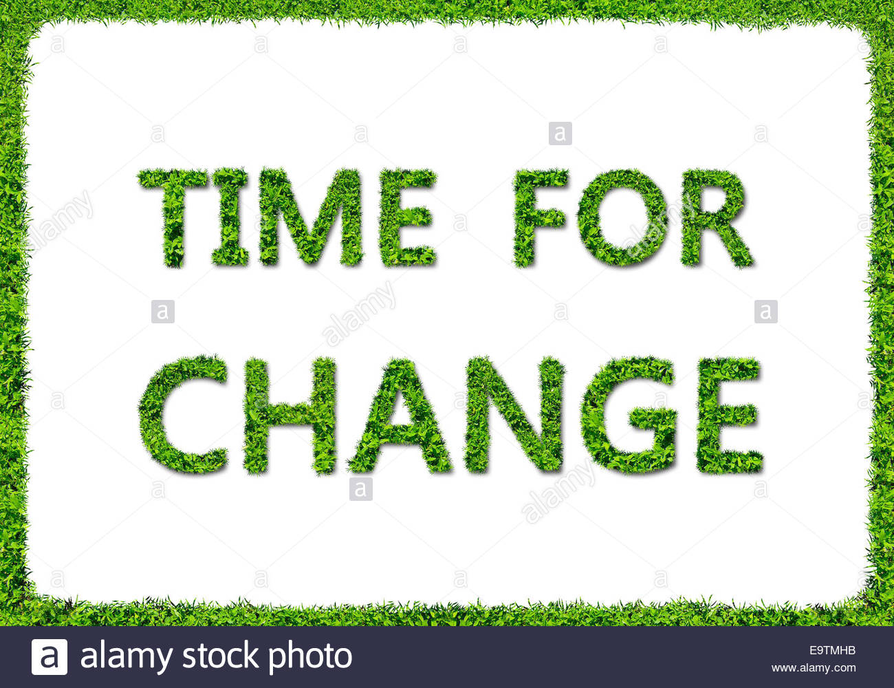 TIME FOR CHANGE - Grasgrün-Konzept Stockbild