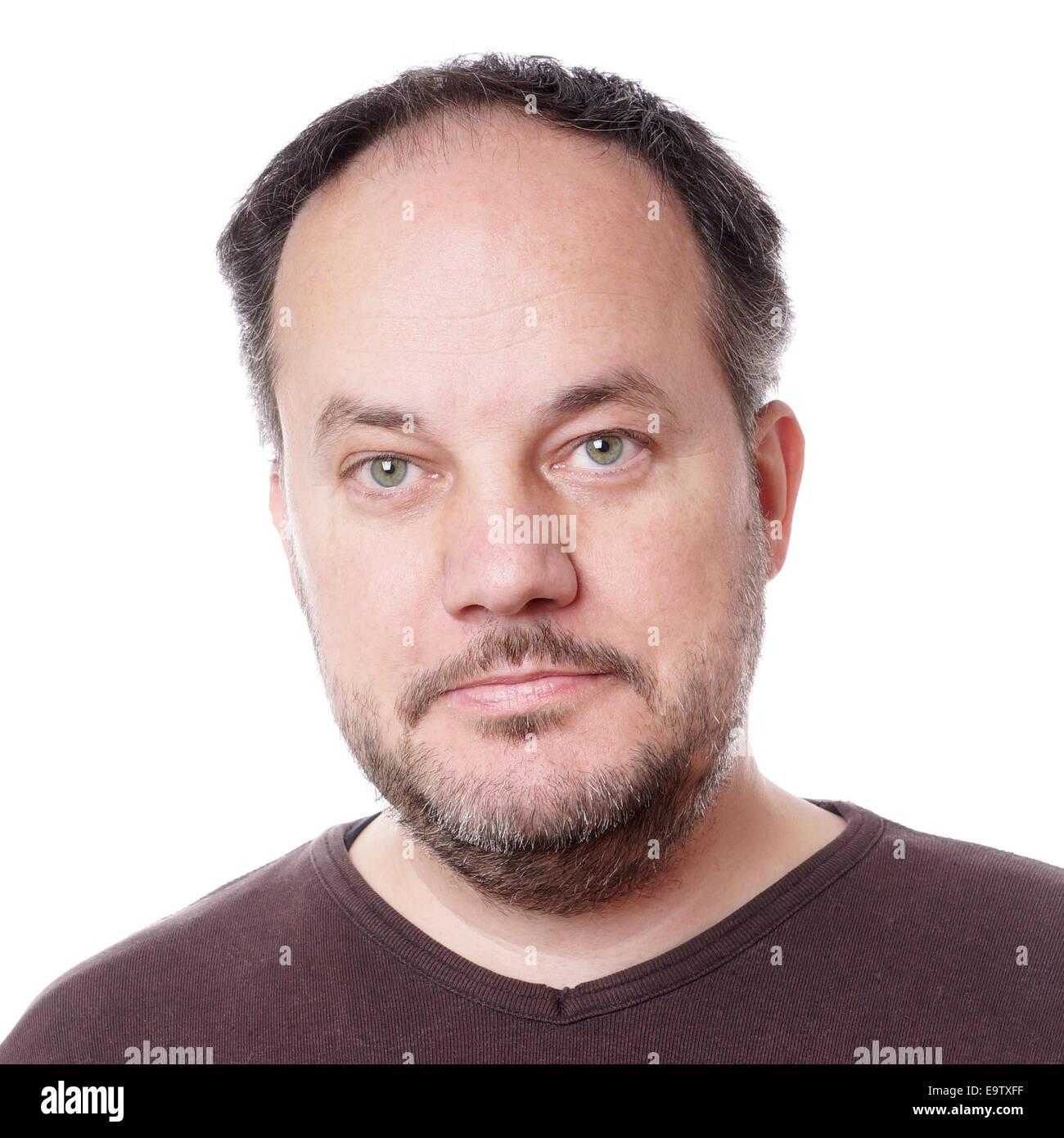 Kopfschuss von einem mittleren Alter Mann mit Bartstoppeln Stockbild