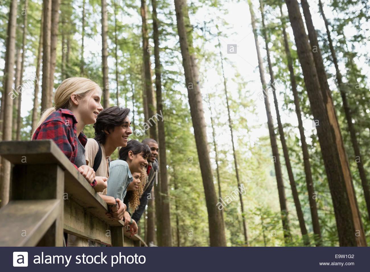 Freunde in einer Reihe am Steg im Wald Stockbild