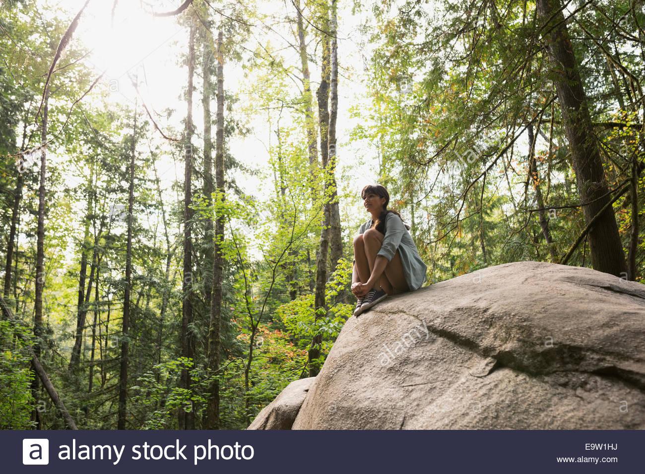 Junge Frau sitzt auf Felsen im sonnigen Wald Stockbild