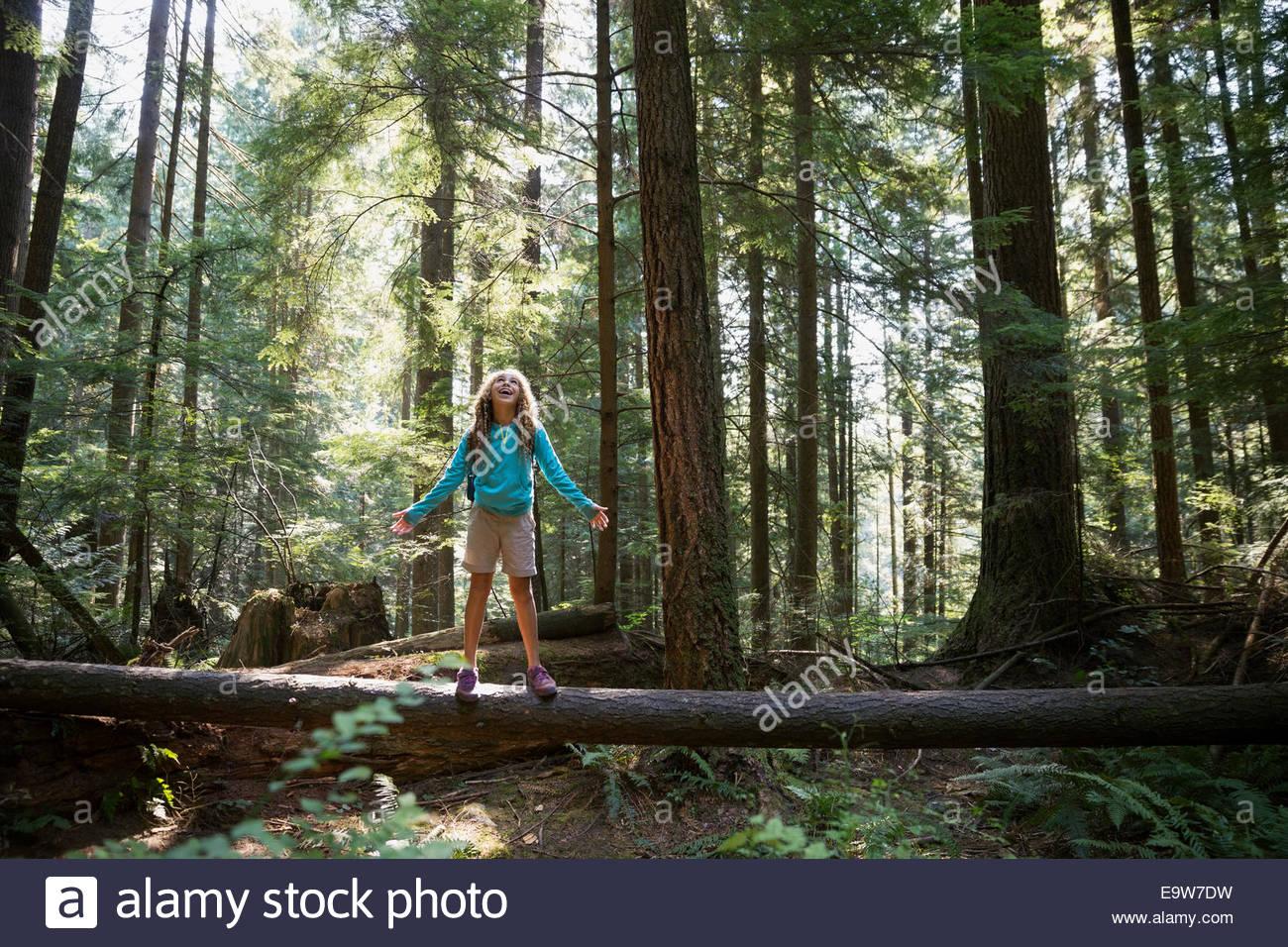 Mädchen mit ausgestreckten auf Baum im Wald Stockbild