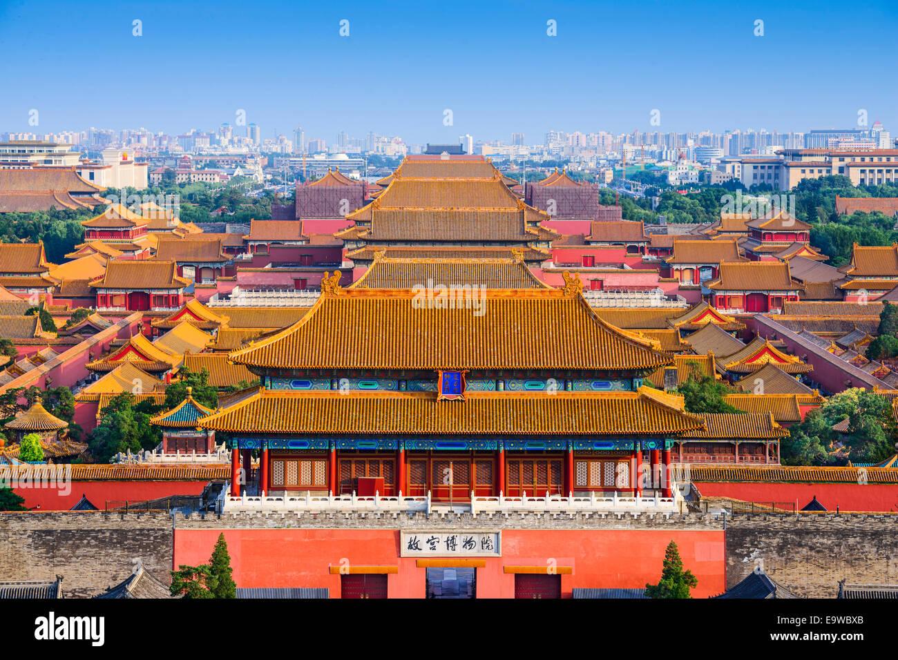 Skyline von Peking in der verbotenen Stadt. Stockfoto